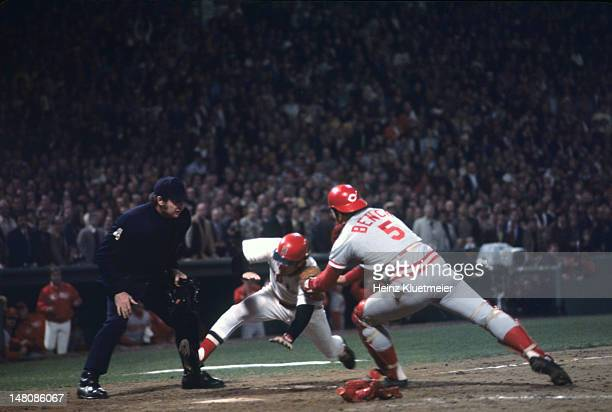 World Series Rear view of Cincinnati Reds Johnny Bench in action making home plate tag out of Boston Red Sox Denny Doyle at Fenway Park Game 6 Boston...