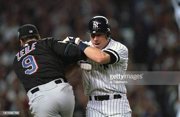 World Series Rear view of New York Mets Todd Zeile in action tagging out New York Yankees Scott Brosius at Yankee Stadium Game 1 Bronx NY CREDIT Al...