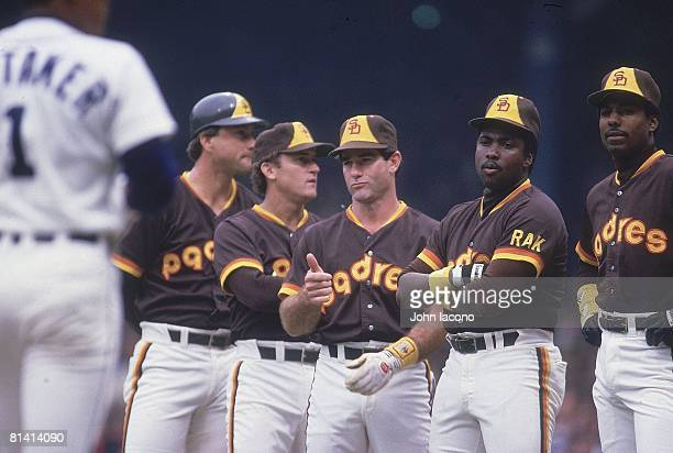 Baseball World Series San Diego Padres Terry Kennedy Graig Nettles Steve Garvey Tony Gwynn and Alan Wiggins during player introductions before Game 5...