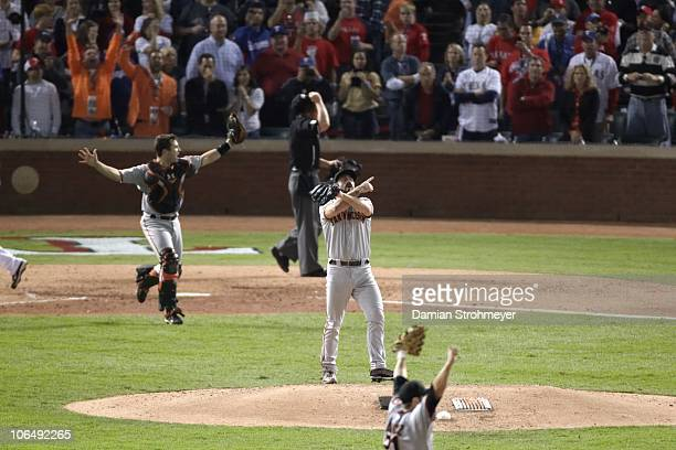World Series San Francisco Giants Brian Wilson victorious on mound after winning Game 5 and championship series vs Texas Rangers Arlington TX...