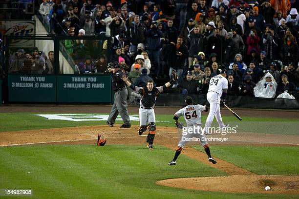 World Series San Francisco Giants Buster Posey and Sergio Romo victorious after winning Game 4 and championship series vs Detroit Tigers at Comerica...