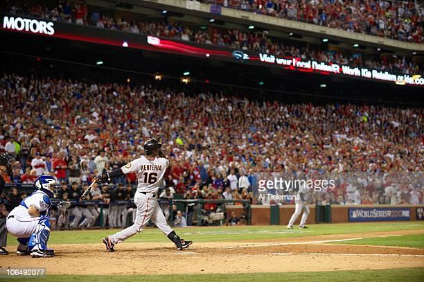 World Series San Francisco Giants Edgar Renteria in action hitting threerun homerun vs Texas Rangers during 7th inning Game 5 Arlington TX 11/1/2010...