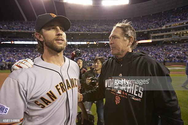 World Series San Francisco Giants Madison Bumgarner with pitching coach Dave Righetti after winning Game 7 and championship series vs Kansas City...