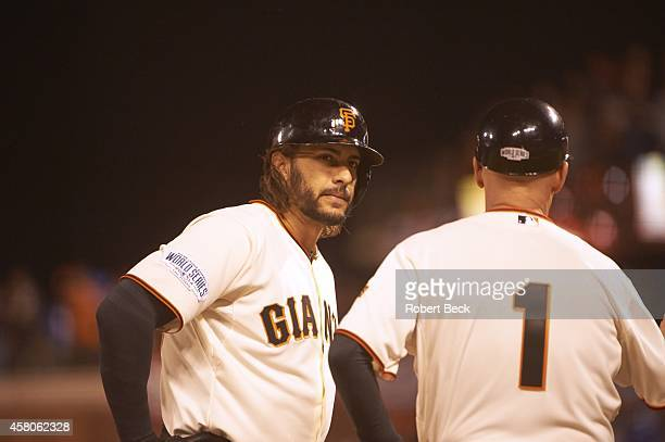 World Series San Francisco Giants Michael Morse with third base coach Tim Flannery during game vs Kansas City Royals at ATT Park Game 3 San Francisco...