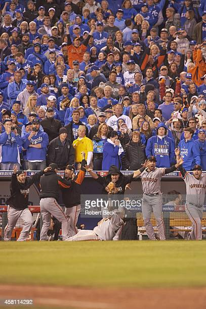 World Series San Francisco Giants Pablo Sandoval victorious after making catch for final out vs Kansas City Royals at Kauffman Stadium Game 7 Kansas...