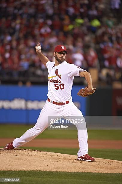 World Series St Louis Cardinals Adam Wainwright in action pitching vs Boston Red Sox at Busch Stadium Game 5 St Louis MO CREDIT Robert Beck