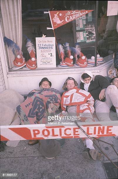 Baseball World Series St Louis Cardinals fans camping out for tickets before game vs New York Yankees St Louis MO 10/8/1964