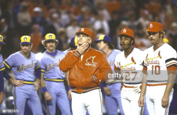 World Series St Louis Cardinals manager Whitey Herzog on field during introductiions with players before game vs Milwaukee Brewers at Busch Stadium...