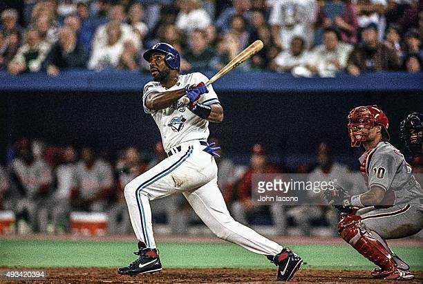 World Series Toronto Blue Jays Joe Carter in action hitting threerun walkoff home run to win Game 6 and championship series vs Philadelphia Phillies...