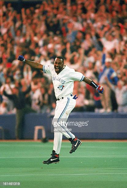 World Series Toronto Blue Jays Joe Carter victorious after hitting three run walk off home run to win game 6 and series vs Philadelphia Phillies at...
