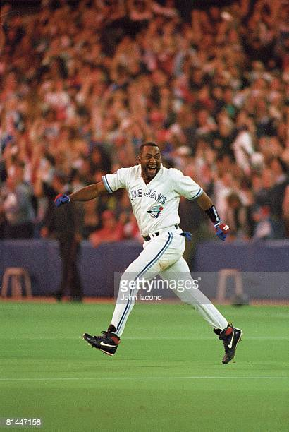 Baseball World Series Toronto Blue Jays Joe Carter victorious after hitting three run walk off home run vs Philadelphia Phillies Game 6 Cover Toronto...