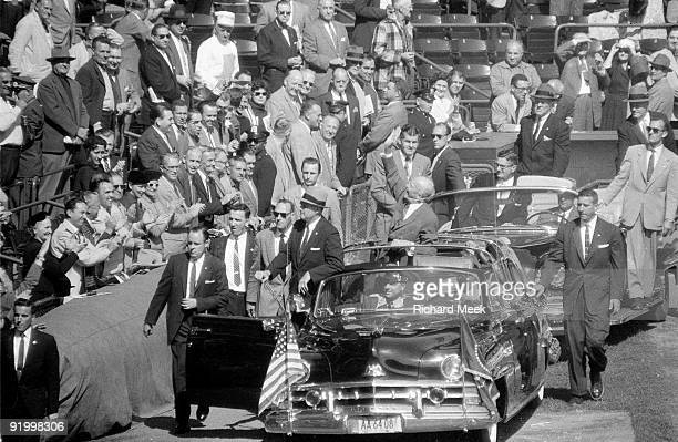 World Series United States President Dwight D Eisenhower entering Ebbets Field before Game 1 between Brooklyn Dodgers and New York Yankees Brooklyn...