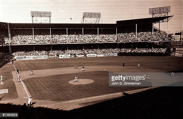 Baseball World Series View of action at Ebbets Field stadium during New York Yankees vs Brooklyn Dodgers game Brooklyn NY 10/5/1956