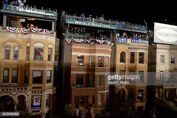 World Series View of Chicago Cubs fans in rooftop stands during game vs Cleveland Indians at Wrigley Field Game 3 Chicago IL CREDIT David E Klutho