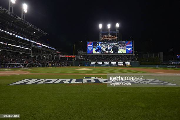 World Series View of Chicago Cubs Kris Bryant Hall of Famer Hank Aaron MLB commissioner Rob Manfred and Boston Red Sox David Ortiz on jumbotron...