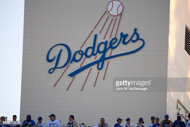 World Series View of Dodgers logo on wall at Dodger Stadium during Los Angeles Dodgers vs Houston Astros game Game 1 Los Angeles CA CREDIT John W...