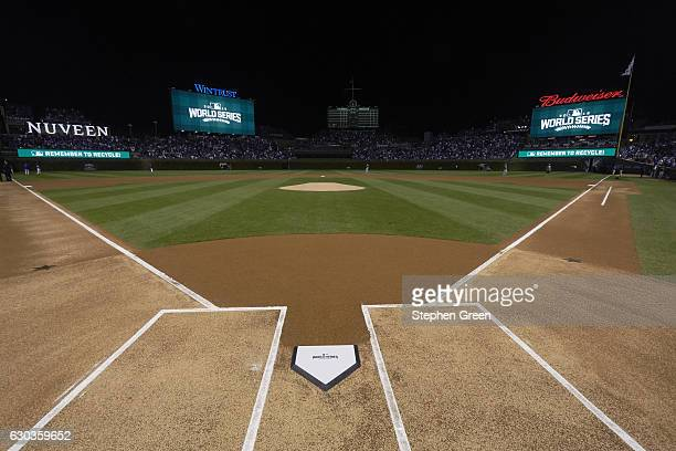World Series View of home plate with 2016 World Series logo before Chicago Cubs vs Cleveland Indians game Game 3 Equipment Chicago IL CREDIT Stephen...