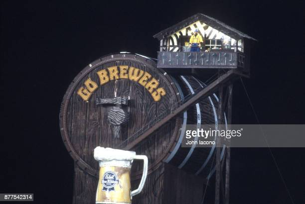 World Series View of Milwaukee Brewers mascot Bernie Brewer's Chalet during game vs St Louis Cardinals at Milwaukee County Stadium Game 4 Milwaukee...