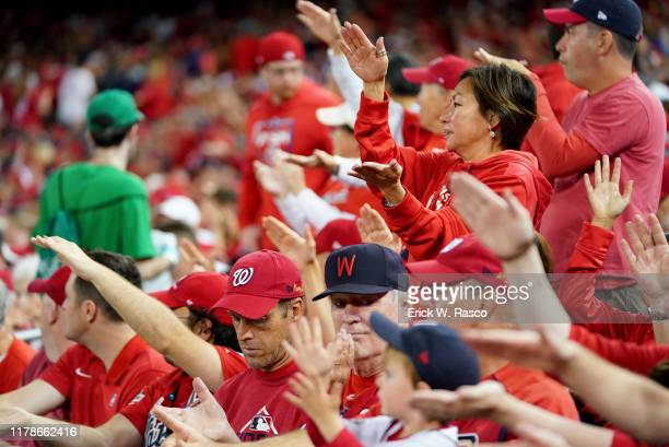 World Series Washington Nationals fans in stands doing baby shark dance during game vs Houston Astros at Nationals Park Game 5 Washington DC CREDIT...