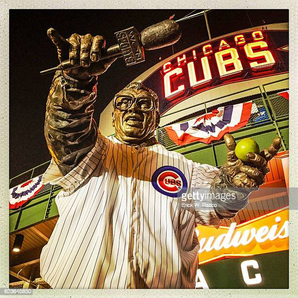 Worlds Series Closeup of statue of former Chicago Cubs announcer Harry Caray wearing team jersey before Game 3 vs Cleveland Indians during photo...