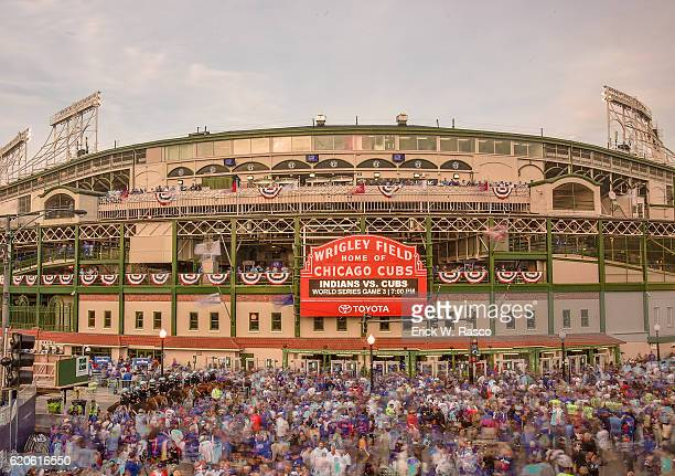 Worlds Series Overall view of fans outside of Wrigley Field before Chicago Cubs vs Cleveland Indians Game 3 during photo shoot in Lake View...