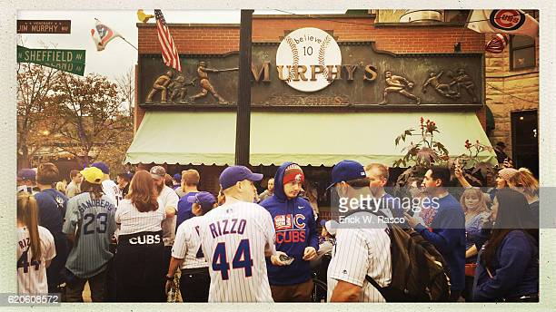 Worlds Series View of fans in front of Murphy's Bleachers bar on Sheffield Avenue during Chicago Cubs vs Cleveland Indians Game 4 during photo shoot...