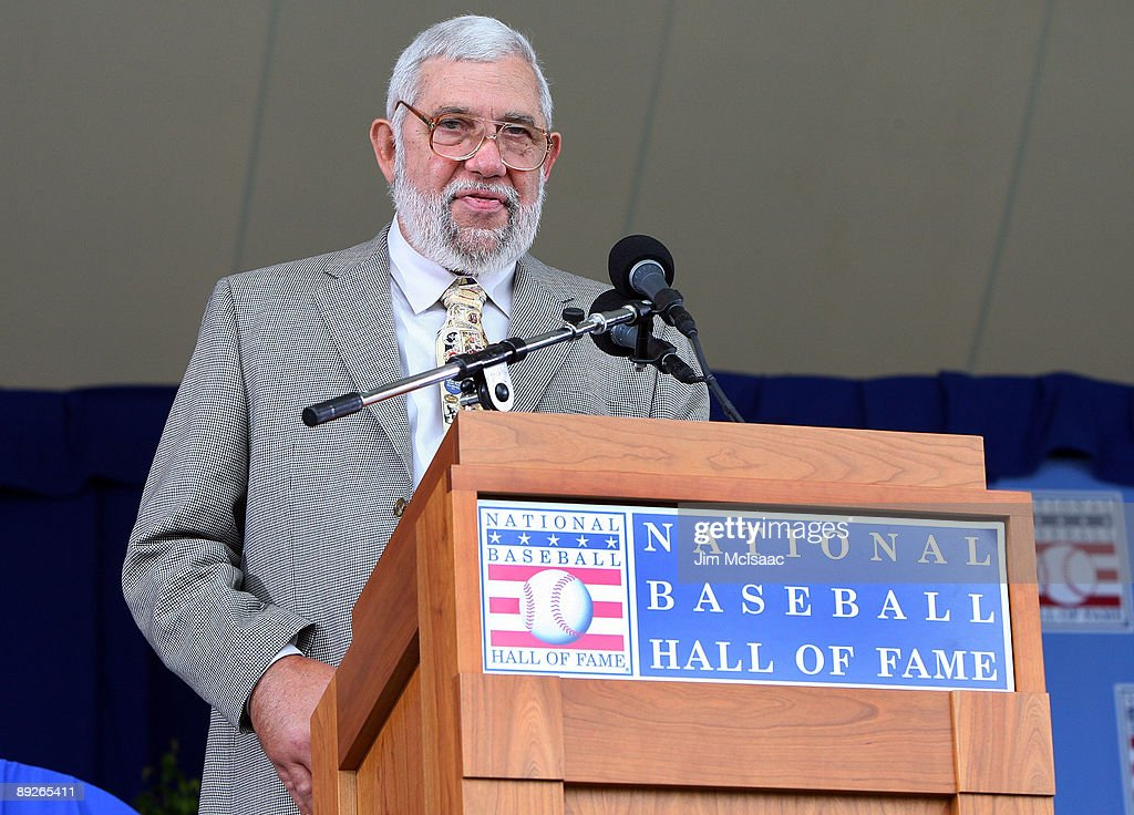 Baseball writer Nick Peters accepts the 2009 J.G. Taylor Spink Award given for 'Meritorious contributions to baseball writing' at Clark Sports Center during the Baseball Hall of Fame induction ceremony on July 26, 2009 in Cooperstown, New York.