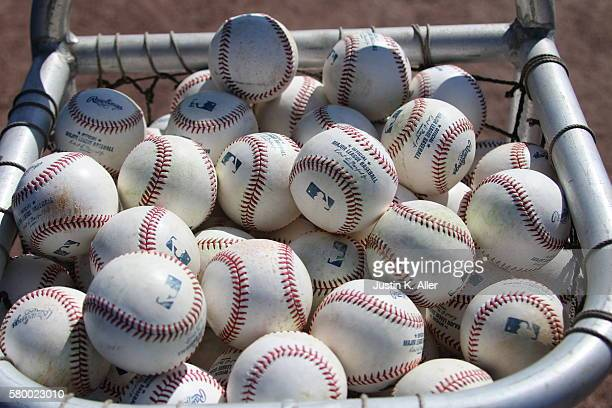 Baseballs are seen before the game between the Baltimore Orioles and the Toronto Blue Jays at Florida Auto Exchange Stadium on March 4 2016 in...
