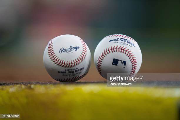 MLB baseballs by the Toronto Blue Jays dugout prior to an MLB game between the Houston Astros and the Toronto Blue Jays at Minute Maid Park Saturday...