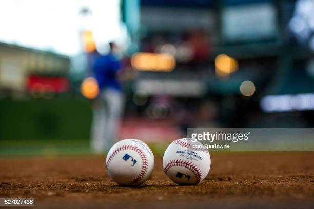 MLB baseballs by the Toronto Blue Jays on the field prior to an MLB game between the Houston Astros and the Toronto Blue Jays at Minute Maid Park...