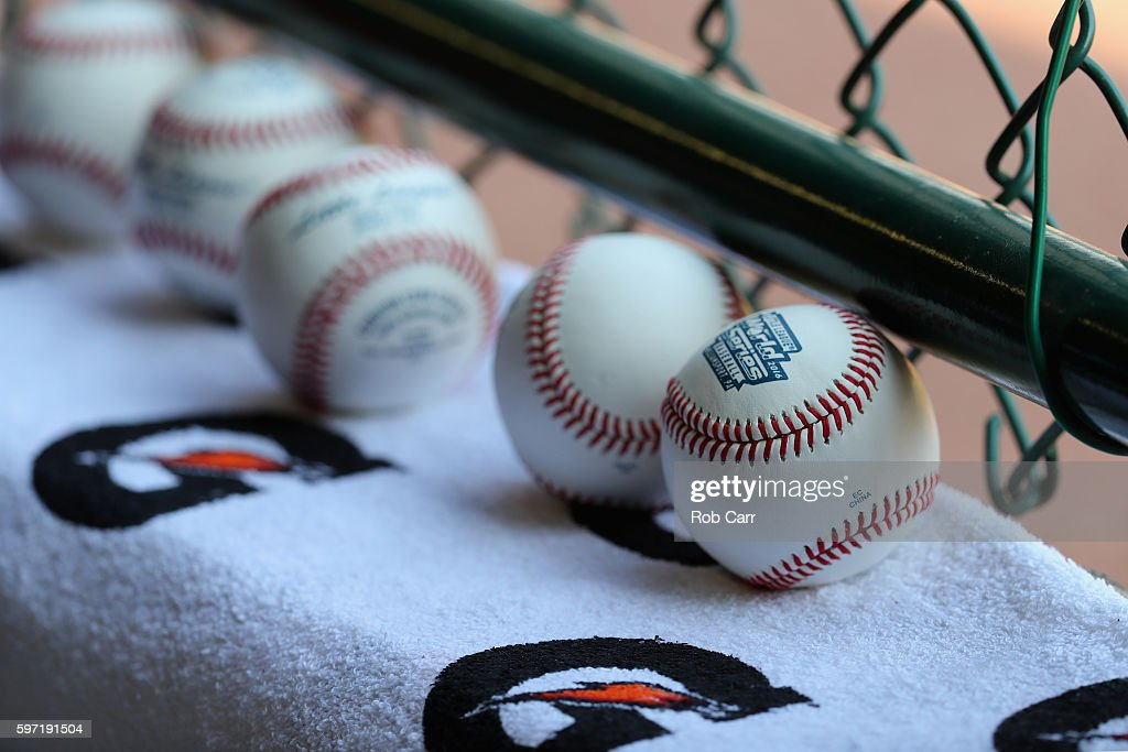 Baseballs sit on a ledge during the first inning of the Little League World Series Championship Game between the Mid-Atlantic Team from New York and the Asia-Pacific team from South Korea at Lamade Stadium on August 28, 2016 in South Williamsport, Pennsylvania.