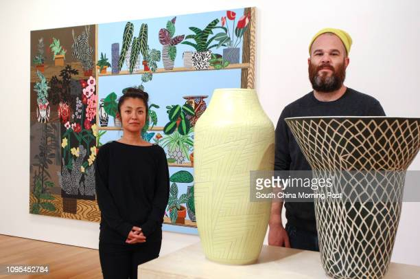 LA based artist couple Jonas Wood and Shio Kusaka pose for picture at the exhibition at Gagosian Gallery Pedder Building Central 15JAN15...
