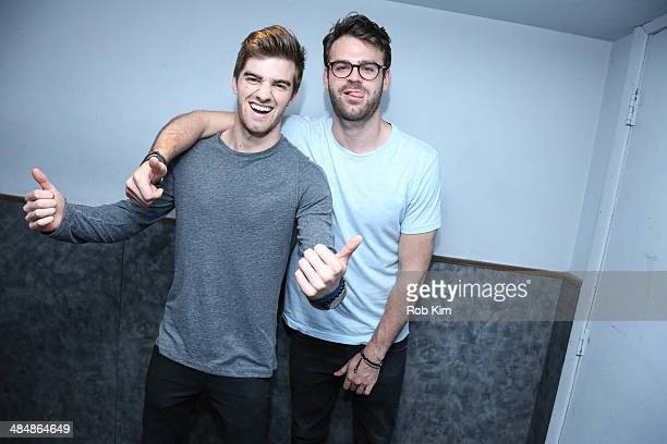 NYC based DJs Andrew Taggart and Alex Pall of The Chainsmokers backstage at the MTV Artist To Watch Event With Flume and The Chainsmokers at Highline...