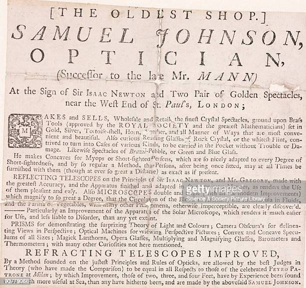 Based in London, Samuel Johnson made and sold crystal spectacles, telescopes and microscopes and was approved by the Royal Society. His shop was...