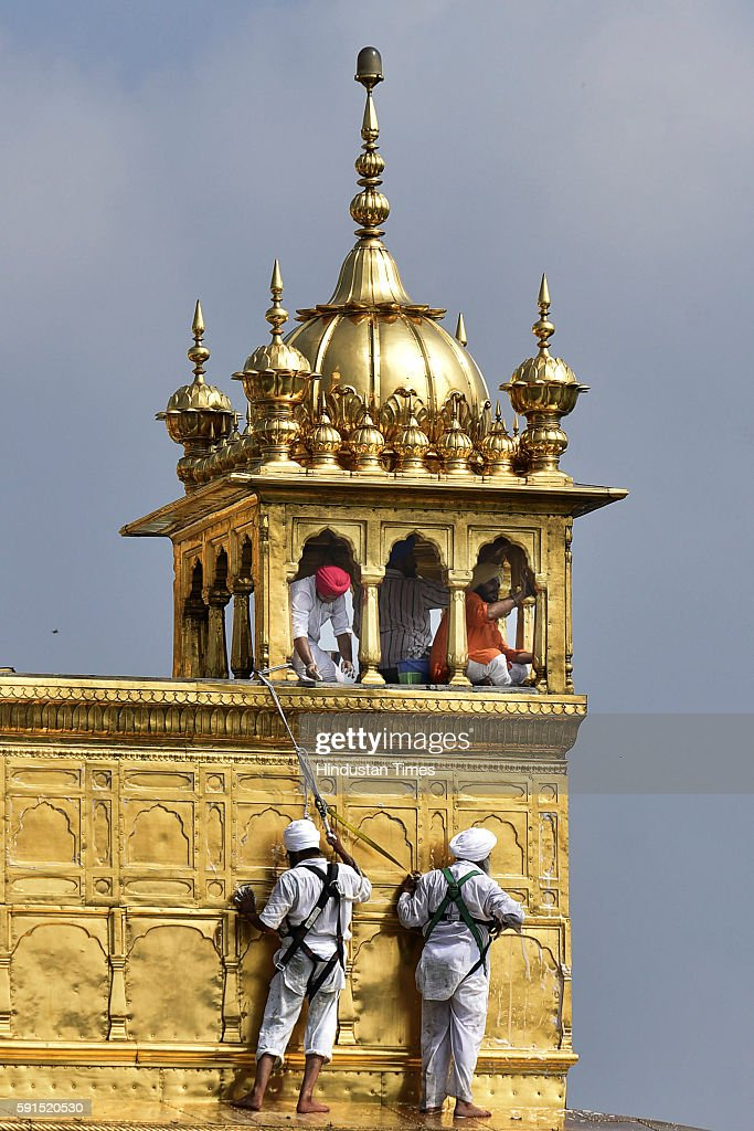 UK based Jatha starts volunteer work of cleaning the Gold plating of the Golden Temple which got affected due to pollution on August 16 2016 in...