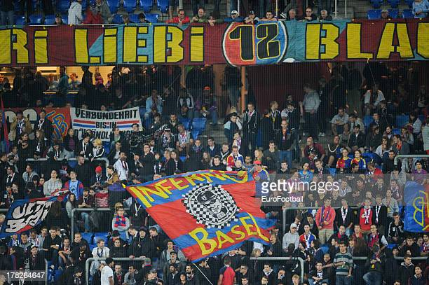 Basel 1893 supporters during the UEFA Champions League playoff second leg match between FC Basel 1893 and PFC Ludogorets Razgrad held on August 27...