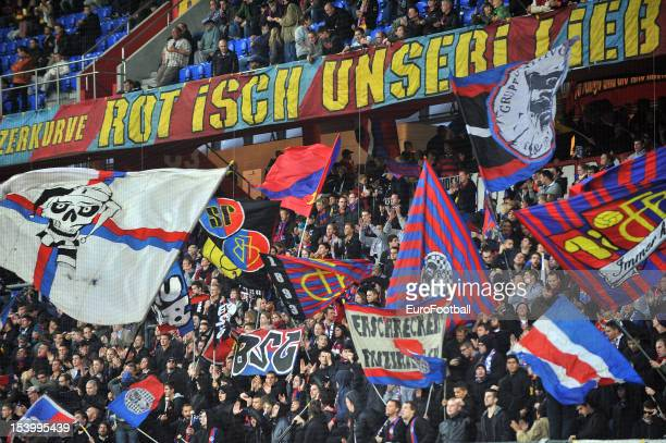 Basel 1893 supporters during the UEFA Europa League group stage match between FC Basel 1893 and KRC Genk held on October 4 2012 at the St JakobPark...