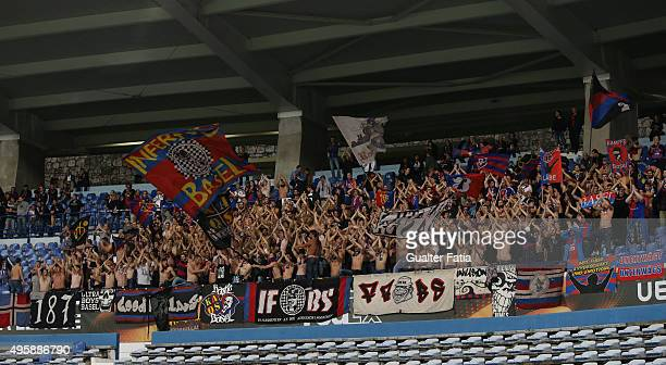 Basel 1893's supporters during the UEFA Europa League match between Os Belenenses and FC Basel 1893 at Estadio do Restelo on November 5 2015 in...