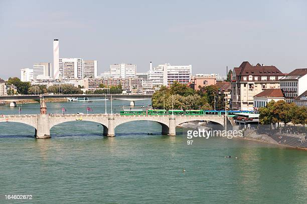 basel and rhine river, switzerland. - basel switzerland stock pictures, royalty-free photos & images