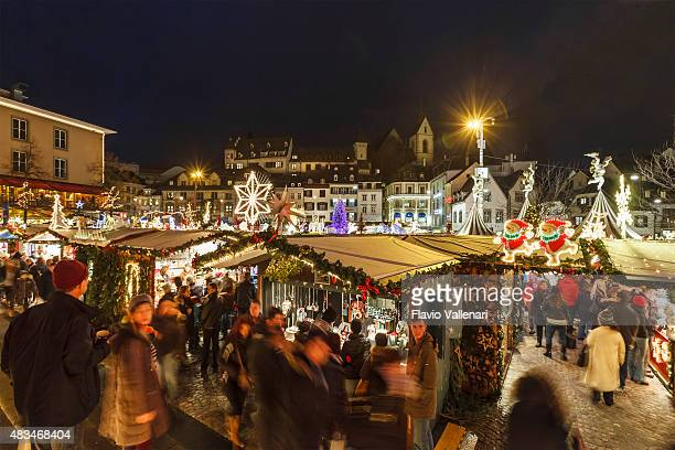 basel at christmas, switzerland - basel switzerland stock photos and pictures