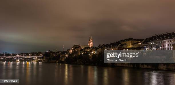 basel bei nacht 3 - nacht stock pictures, royalty-free photos & images