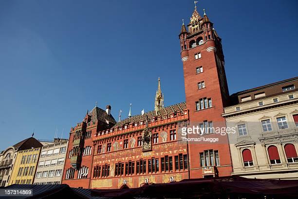 basel city hall at blue sky - bazel stockfoto's en -beelden