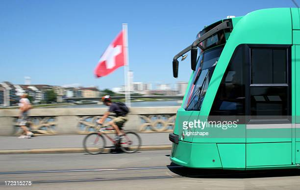 basel city / street car - basel switzerland stock pictures, royalty-free photos & images