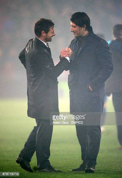 FC Basel coach Heiko Vogel and Tottenham manager Andre VillasBoas at the final whistle