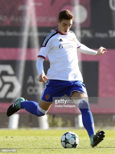 Basel defender Ylber Lokaj from Germany during SL Benfica v FC Basel 1893 UEFA Youth League round six match at Caixa Campus on December 05 2017 in...