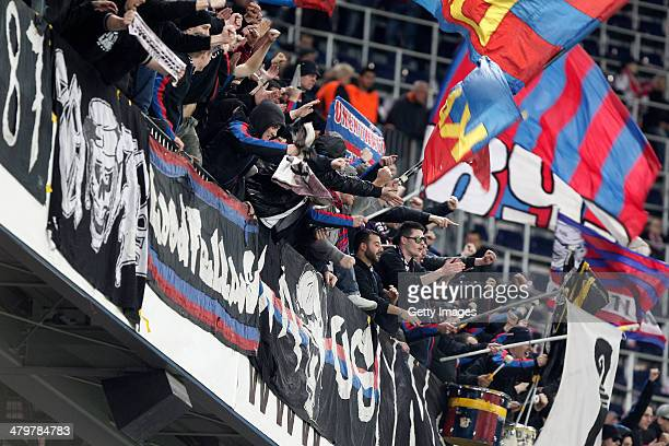 Basel fans celebrate victory after the UEFA Europa League Round of 16 match between FC Salzburg and FC Basel 1893 at Stadion Salzburg on March 20...