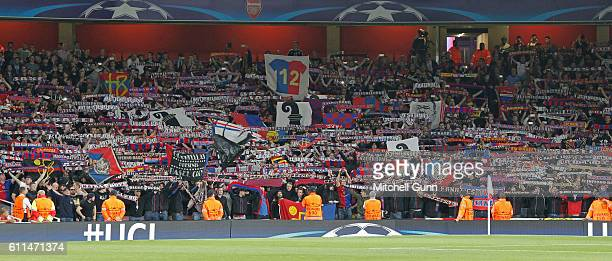 Basel fans during the Champions League match between Arsenal and FC Basel at The Emirates Stadium on September 28 2016 in London United Kingdom