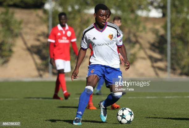 Basel forward Afimico Pululu from France in action during the UEFA Youth League match between SL Benfica and FC Basel at Caixa Futebol Campus on...