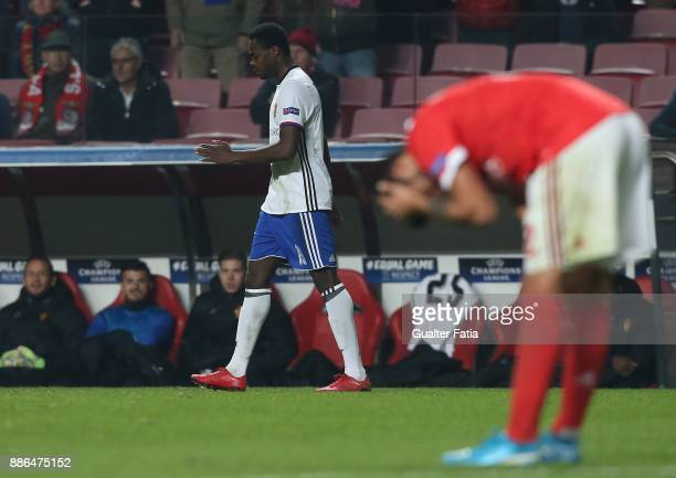 Basel forward Dimitri Oberlin from Switzerland after scoring a goal during the UEFA Champions League match between SL Benfica and FC Basel at Estadio...