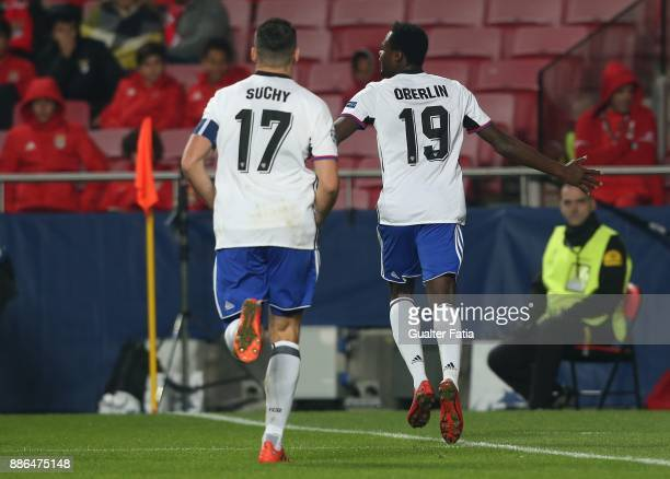 Basel forward Dimitri Oberlin from Switzerland celebrates after scoring a goal during the UEFA Champions League match between SL Benfica and FC Basel...